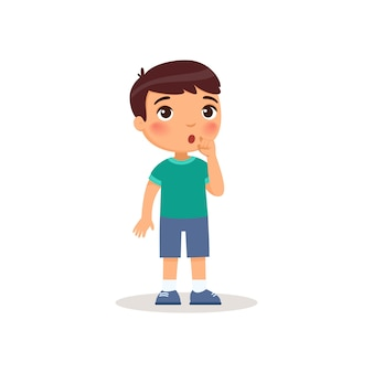 Little boy showing silence gesture flat vector illustration.