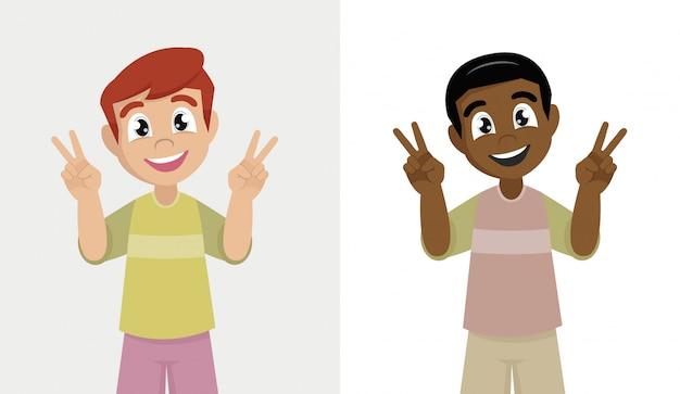 2本の指で勝利のサインを示す小さな男の子。勝利のジェスチャーを示す少年。