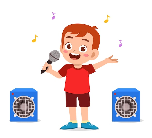 무대에서 아름다운 노래를 부르는 어린 소년