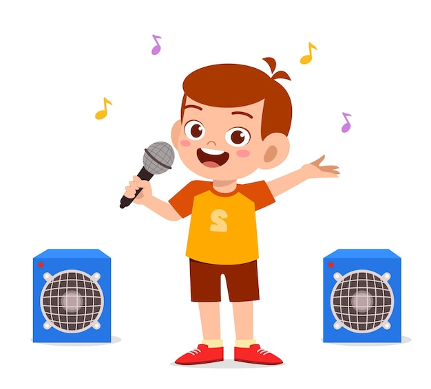 小さな男の子がステージで美しい歌を歌います