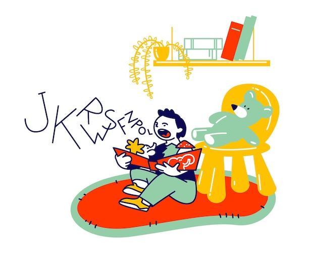 Маленький мальчик сидит на полу, пытаясь читать книгу. урок логопедии, ребенок учится правильно говорить. мультфильм плоский иллюстрация