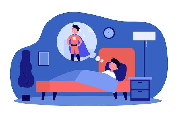 잠자는 소년과 초능력에 대한 꿈. 침대, 케이프, 강도 평면 그림. 어린 시절과 상상력 개념
