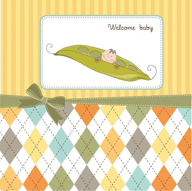 완두콩에서 자 고하는 어린 소년, 아기 발표 카드