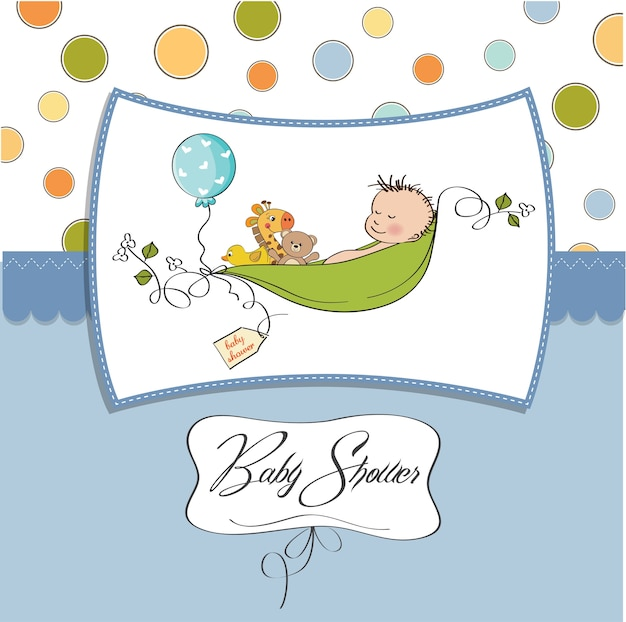 Little boy sleeping in a pea been, baby announcement card