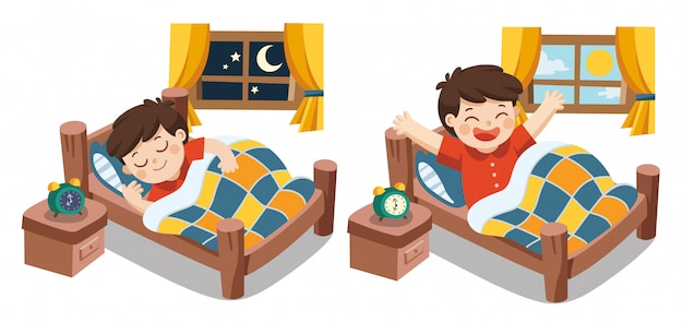 A little boy sleeping on tonight dreams, good night and sweet dreams. he wake up in the morning. isolated vector