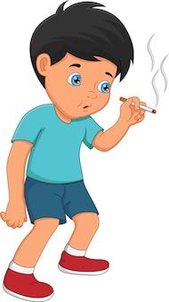 흰색 배경에 담배를 피우는 어린 소년