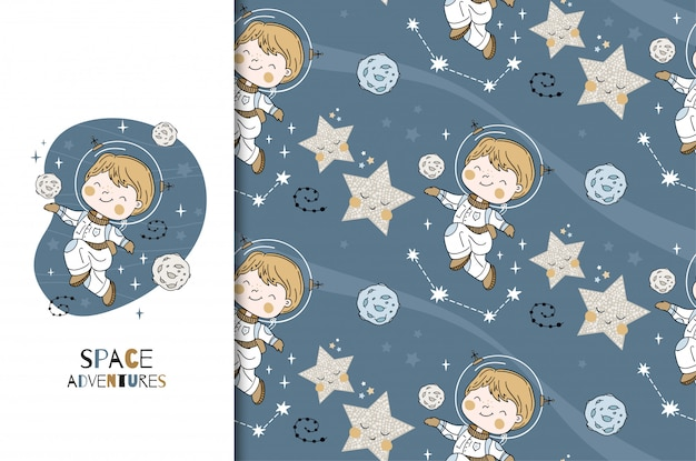 Little boy space researcher card and seamless pattern. cartoon hand drawn illustration.