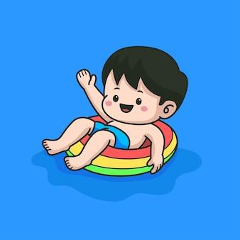 Little boy swimming on pool cartoon illustration