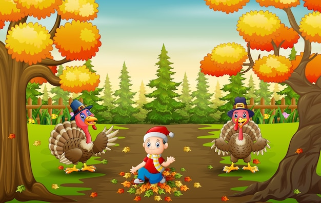 Little boy and turkeys bird playing with fallen leaves