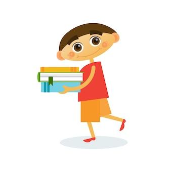 Little boy walk holding stack of books reading cute kid