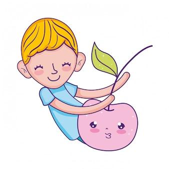 Little boy with apple kawaii character