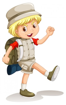 Little boy with backpack going camping