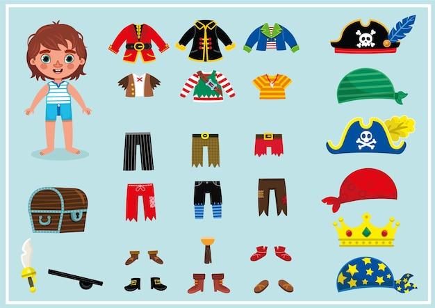 Маленький мальчик в его пиратских костюмах для игр с бумажной куклой на одевание векторная иллюстрация