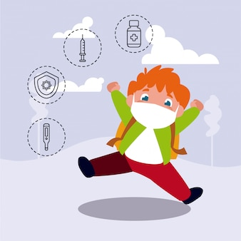 Маленький мальчик с иконами защиты от коронавируса и симптомы