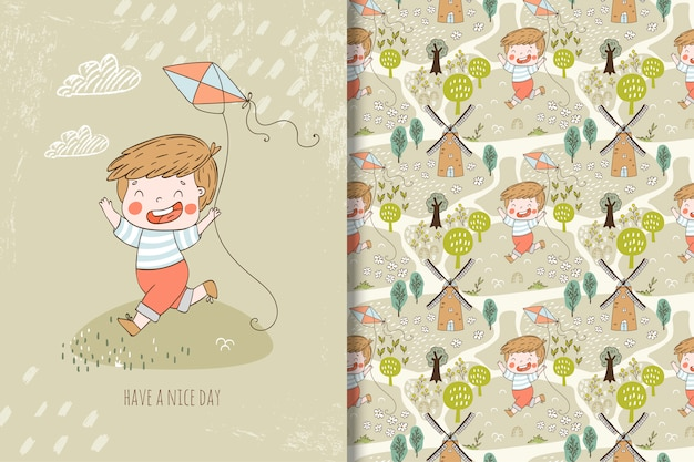 Little boy with kite illustration and seamless pattern
