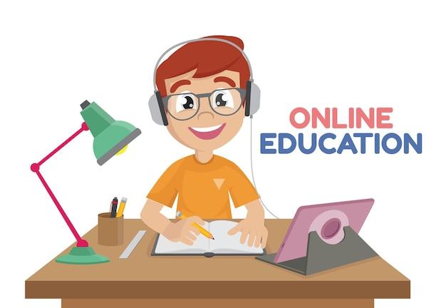 Little boy working at laptop online educationvector eps10