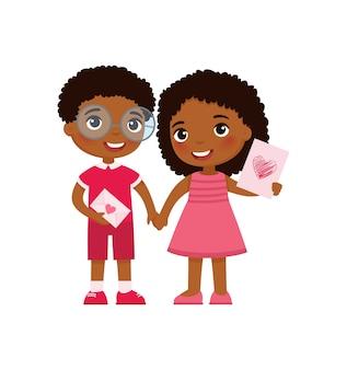 발렌타인 데이를 축하하는 작은 남자 친구와 여자 친구