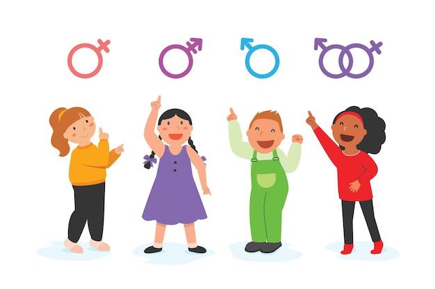 어린 소년과 소녀들이 lgbt 기호를 제시하고 있습니다.