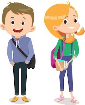 Маленькие мальчики и девочки идут вместе в школу