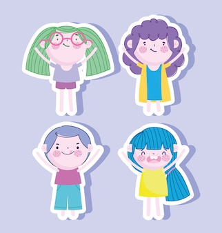 Little boys and girls stickers icons vector illustration
