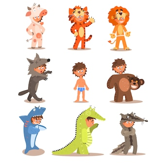 Little boys wearing animal costumes set