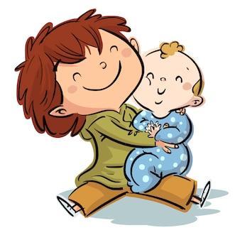 Little brothers hugging illustration
