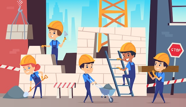 Little builders. boys funny making professional job construction helmet background. builder worker professional, character person foreman illustration