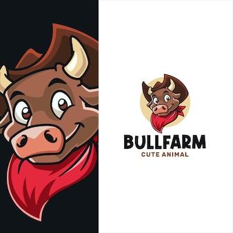 Little bull cartoon logo template in cowboy look