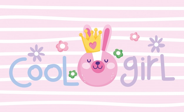 Little bunny face with crown cool girl cartoon cute text