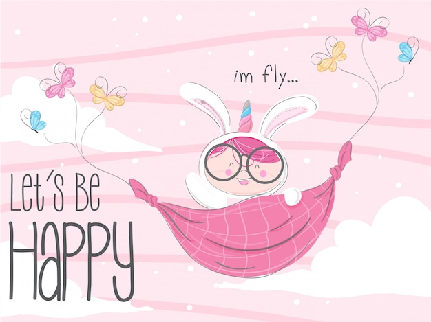 Little bunny flying hand drawn illustration-vector