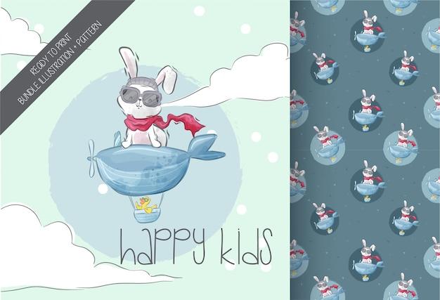 Little bunny flying seamless pattern