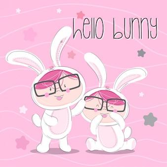 Little bunny hand drawn illustration-vector