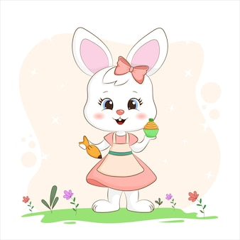 특별 장식 된 컵 케이크를 들고 작은 토끼 프리미엄 벡터