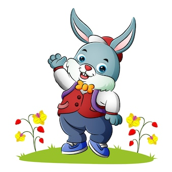 The little bunny is waving the hand of illustration