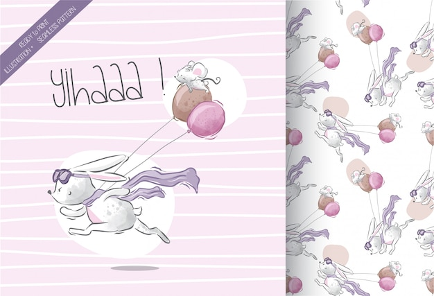 Little bunny run with bunny  seamless pattern
