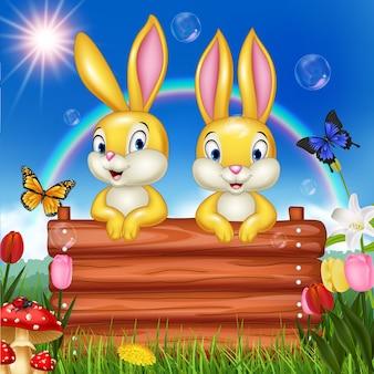 木製の看板の小さなウサギ