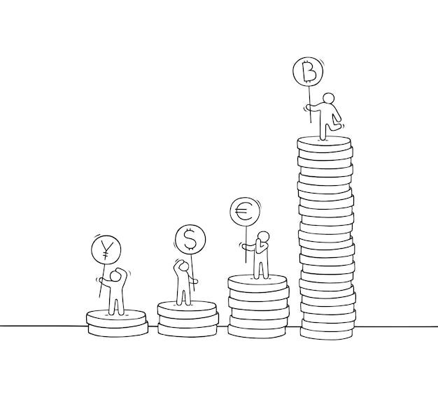 Little business people with stack of coins.