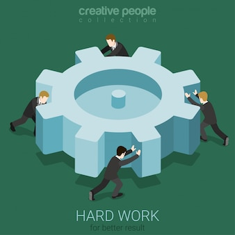 Little businessmen spinning big cogwheel gear hard work team teamwork concept isometric  illustration