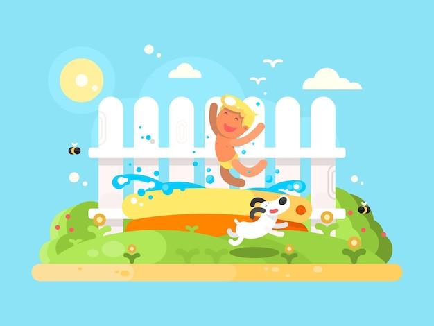 少しですが、楽しんでいる庭のプールで。シュメールビケーション、走っている犬。フラットベクトルイラスト
