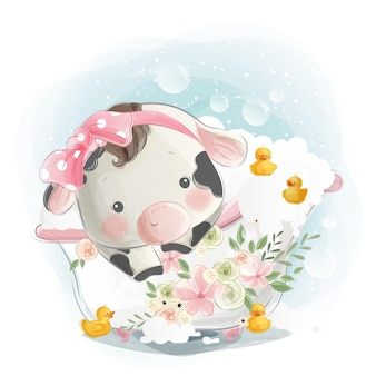 Little calf in bath tub with little ducks