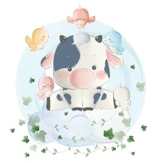 かわいい雲の上に座っている小さな子牛の少年