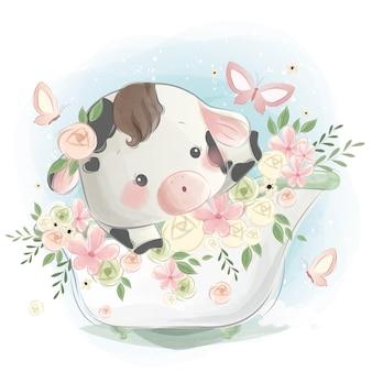 Little calf in a spring bath tub