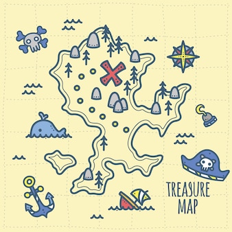 Little captain treasure and adventure map for kids