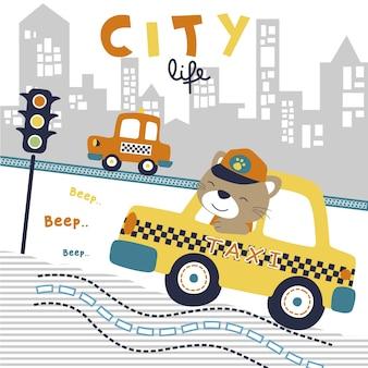 かわいい運転手と街道のリトルカー漫画
