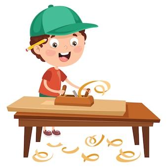 Маленький мультфильм карпентер работает с лесом