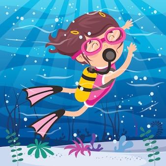 Little cartoon character diving in the ocean