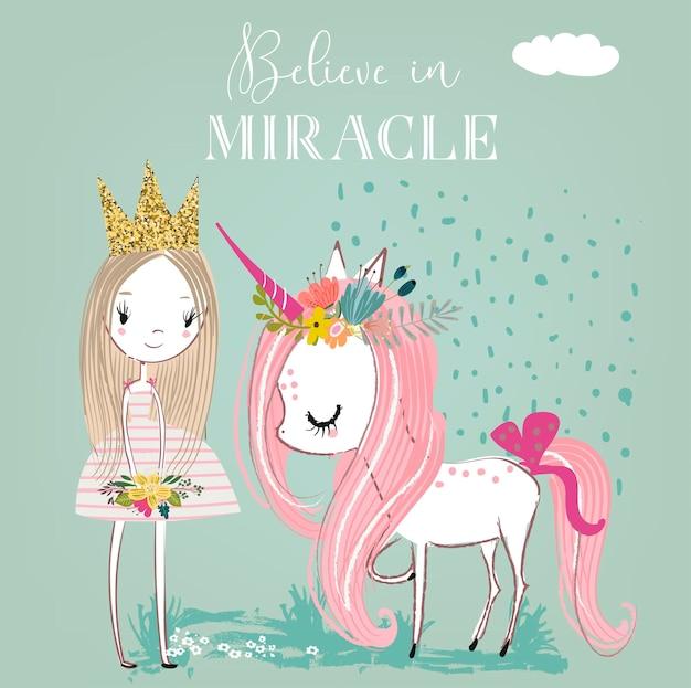 Маленький мультяшный белый сказочный единорог с принцессой