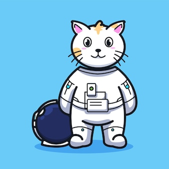 Little cat astronaut without helmet in cute line art illustration style