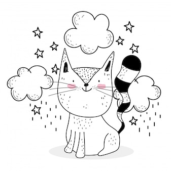 Little cat clouds stars cute animals sketch wildlife cartoon adorable