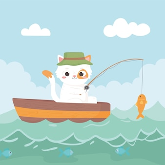 Little cat fishing in the river on a boat